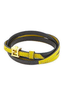 FENDI Double wrap leather bracelet