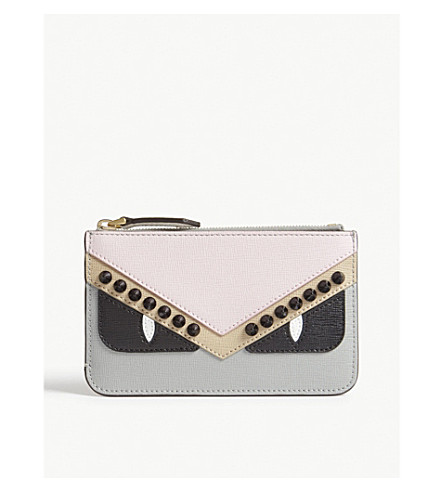 FENDI Monster eyes small leather pouch (Multi