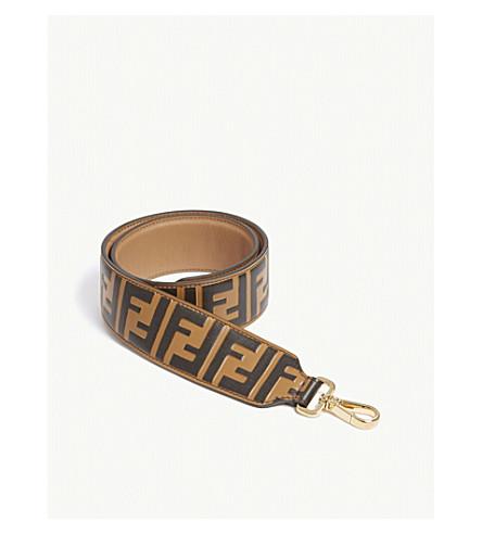 FENDI Logo leather shoulder strap (Brown