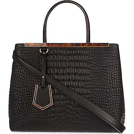 FENDI 2jour quilted pebble leather tote (Black