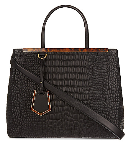 FENDI 2Jours quilted pebbled leather tote (Black