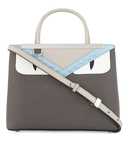 FENDI Monster small leather tote (Grey+pale+blue