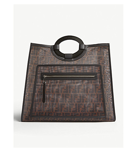FENDI Runway mesh and leather shopper bag (Brown
