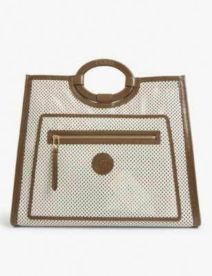 Perforated leather tote bag(8308789)
