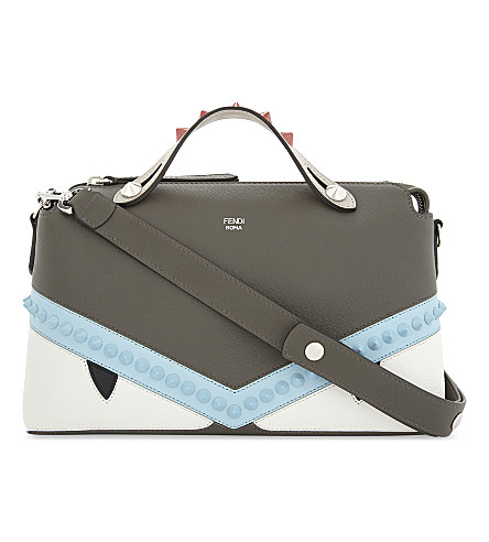 FENDI Monster leather shoulder bag (Grey+pale+blue