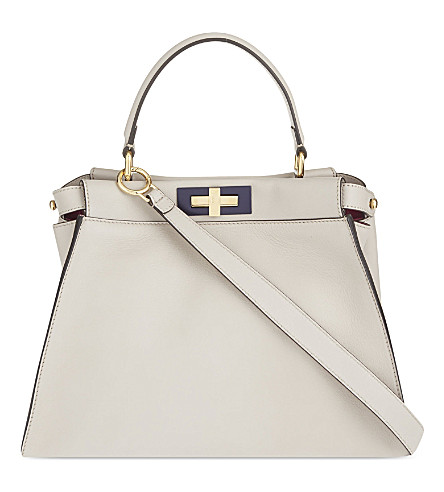 FENDI Peekaboo leather shoulder bag (Beige multi