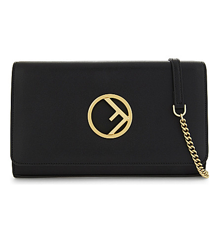 FENDI Logo leather clutch (Black