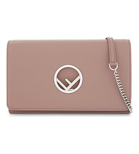 FENDI Logo leather clutch (Pink