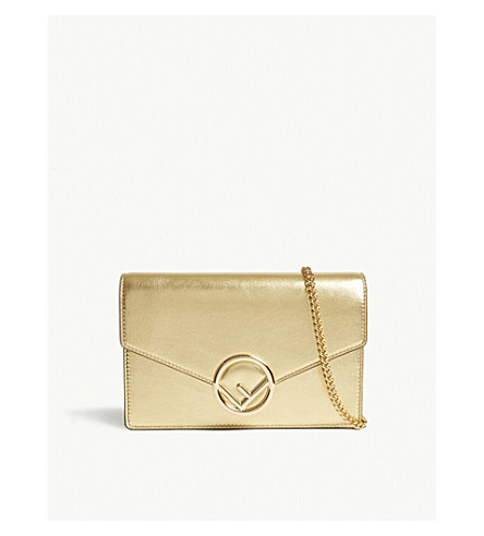FENDI Metallic leather wallet-on-chain (Gold