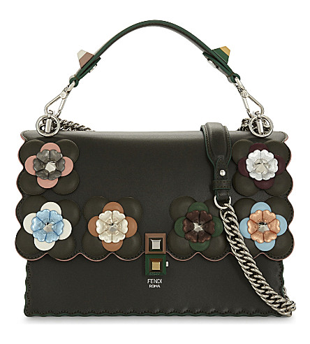 FENDI Kan I flowers leather shoulder bag (Green