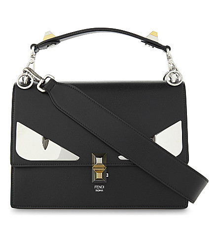 FENDI Monster eyes leather shoulder bag (Black