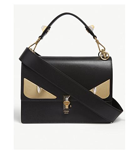 FENDI Kan I monster leather shoulder bag (Black/gold