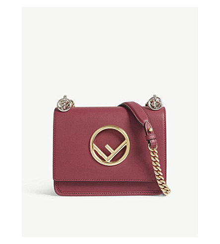 FENDI Kan I small leather cross-body bag (Black+cherry