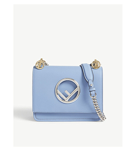 FENDI Kan I small leather cross-body bag (Nebula+light+blue