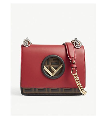 FENDI Fendi Kan I logo small leather cross-body bag (Red/brown/black