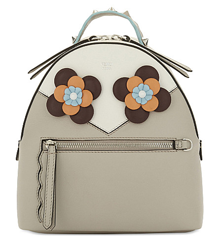 FENDI Flowers leather backpack (Light+grey