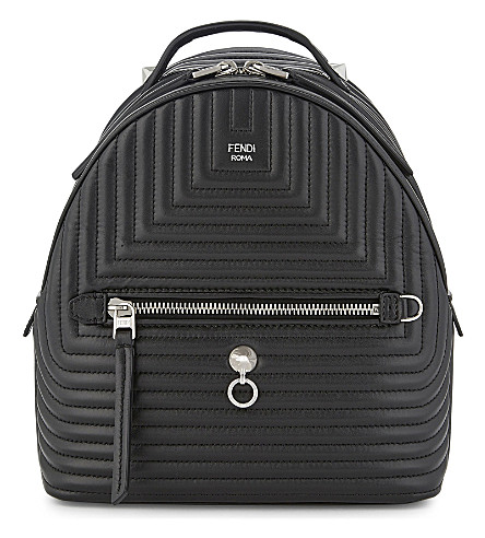 FENDI Mini quilted leather backpack (Black