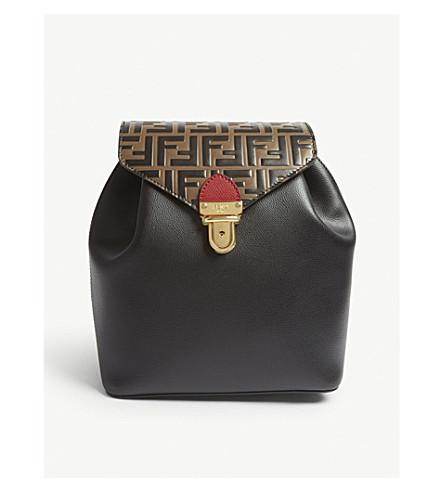 FENDI Logo embossed leather backpack (Black/brown