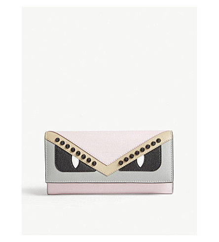 FENDI Monster leather continental wallet (Multi