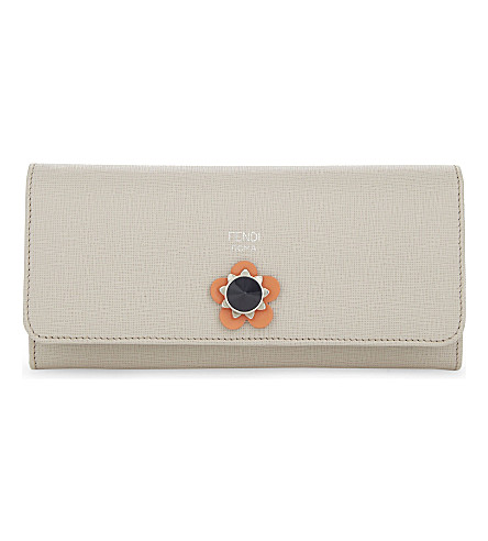 FENDI Leather continental wallet (Light+grey