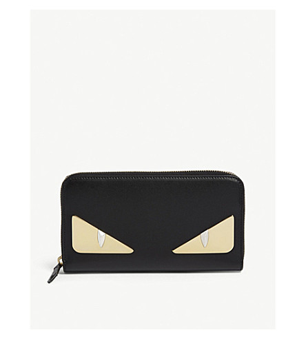 FENDI Monster leather zip-around wallet (Black/gold