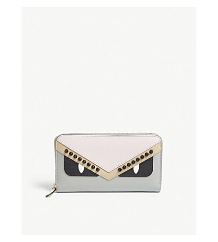 FENDI Monster zip-around leather wallet (Multi