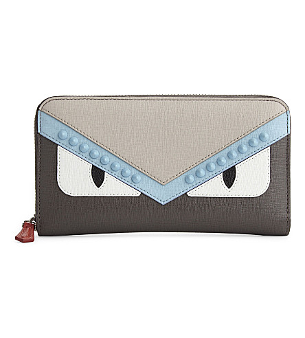 FENDI Monster face zip-around leather wallet (Grey+pale+blue
