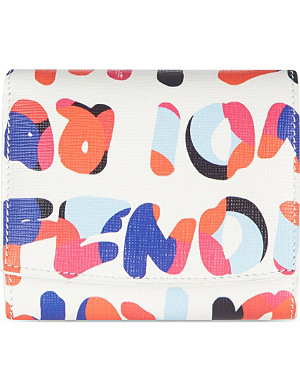 FENDI Roma print French slogan purse