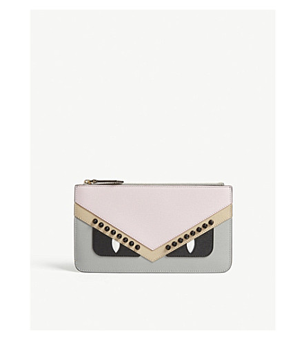 FENDI Monster small leather pouch (Multi