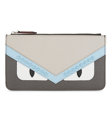 FENDI Monster eyes small pouch (Grey+pale+blue