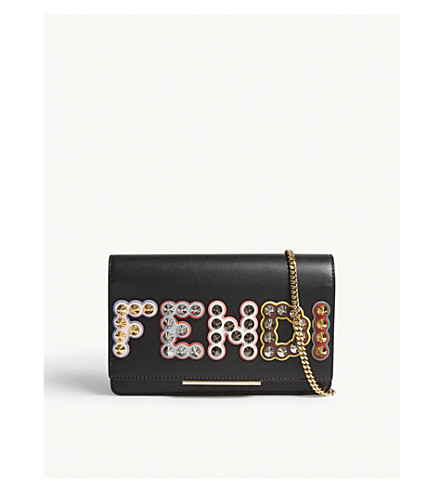 FENDI Embellished leather wallet-on-chain (Black