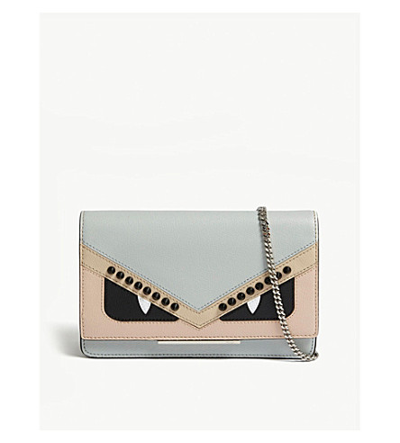 FENDI Monster eyes small leather cross-body bag (Nude/brown
