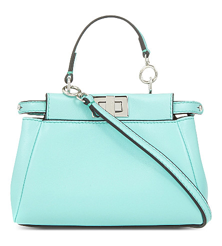 FENDI Peekaboo micro leather shoulder bag (Mint