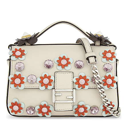 FENDI Leather floral double baguette bag (Camilla+beige