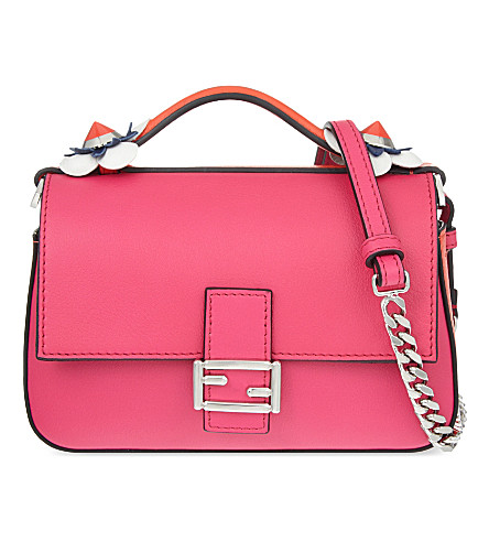 FENDI Double baguette leather shoulder bag (Fushia orange