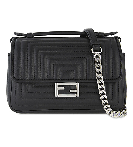 FENDI Double baguette leather shoulder bag (Black