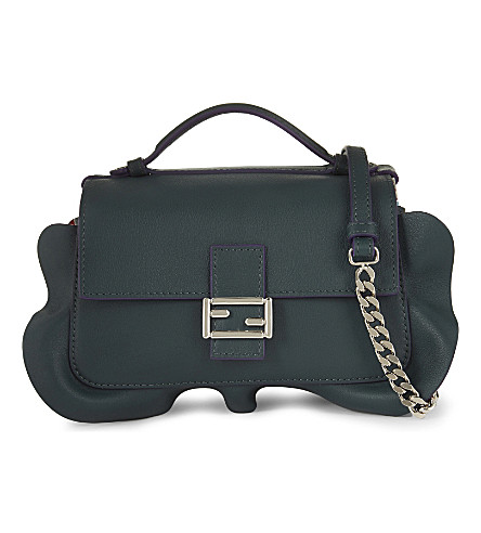 FENDI Double baguette leather bag (Emeral green turquoise