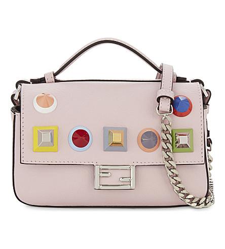 FENDI Embellished leather double baguette bag (Light+pink