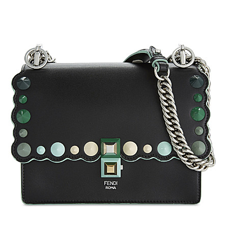 FENDI Kan I small shoulder bag (Black+green