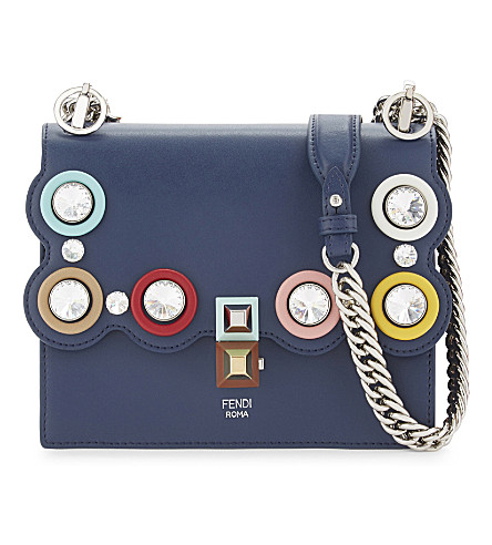 FENDI Kan I small crystal embellished leather cross-body bag (Blue