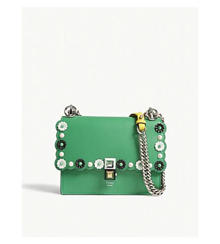 FENDI Kan I floral studded shoulder bag (Green