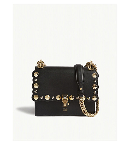 FENDI Kan I studded leather cross-body bag (Black