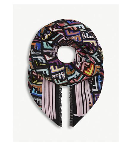 FENDI 几何标志真丝围巾 (黑色