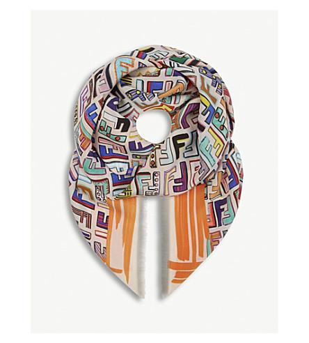 FENDI Geometric logo silk scarf (Camellia+beige