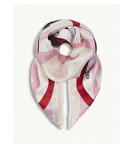 FENDI F is Fendi printed silk scarf (Beige+pink