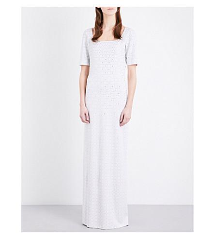 ST JOHN Ombré-print embellished gown (Bianco/silver