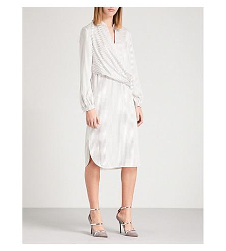 ST JOHN Draped striped stretch-silk midi shirt dress (Light+stone/travertine