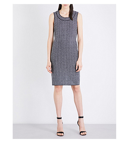 ST JOHN Leila sleeveless tweed dress (Caviar+bianco