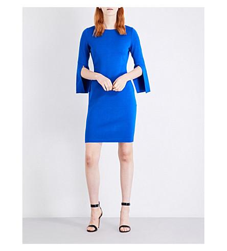 ST JOHN Milano split-sleeve knitted dress (Jaya+blue