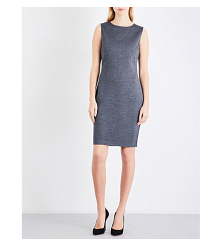 ST JOHN Fitted sleeveless wool-blend dress (Flint+melange